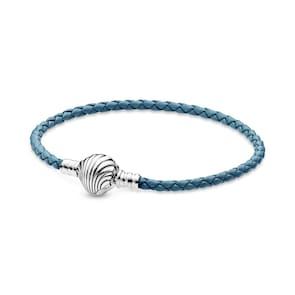 Pandora Timeless Bracelet en Cuir Tressé Turquoise Fermoir Coquillage Pandora Moments