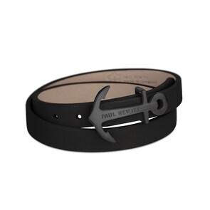 Paul Hewitt North Bound IP Noir Enroulé Bracelet Cuir Noir