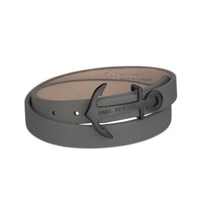 Paul Hewitt North Bound IP Noir Enroulé Bracelet Cuir Gris
