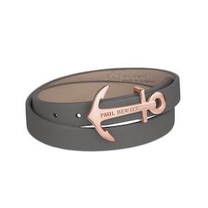 Paul Hewitt North Bound IP Or Rosé Enroulé Bracelet Cuir Gris