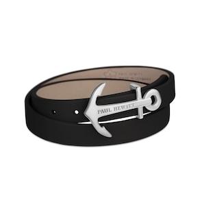 Paul Hewitt North Bound Argenté Enroulé Bracelet Cuir Noir
