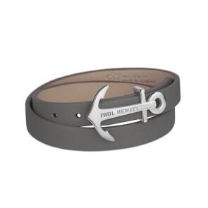 Paul Hewitt North Bound Argenté Enroulé Bracelet Cuir Gris