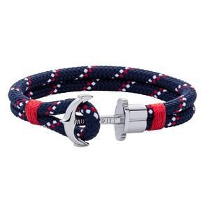 Paul Hewitt Phrep Bracelet Ancre Argenté Nylon Bleu Marine Rouge Blanc
