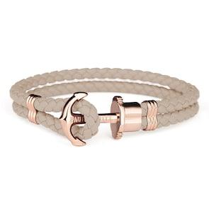 Paul Hewitt Phrep IP Or Rosé Ancre Bracelet Cuir Hazelnut