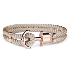 Paul Hewitt Phrep IP Or Rosé Ancre Bracelet Nylon Hazelnut