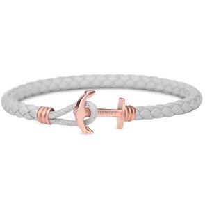 Paul Hewitt Phrep Lite IP Or Rosé Ancre Bracelet Cuir Gris