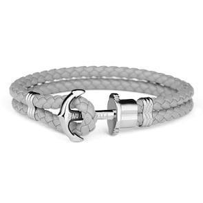 Paul Hewitt Phrep Argenté Ancre Bracelet Cuir Gris