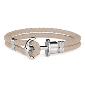 Paul Hewitt Phrep Argenté Ancre Bracelet Cuir Hazelnut
