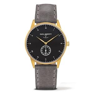 Paul Hewitt Signature Line Black Sea IP Gold Leather Grey Ø 38