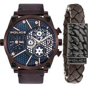 Police Vigor Set avec bracelet en cuir brun