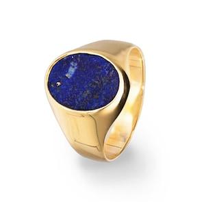 Chevalière 750/18 K or jaune creux avec lapis-lazuli