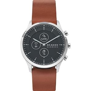 Skagen Jorn 42 Hybrid Smartwatch HR en cuir brun