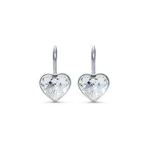 Swarovski Boucles d'oreilles Bella Heart, blanc, métal rhodié