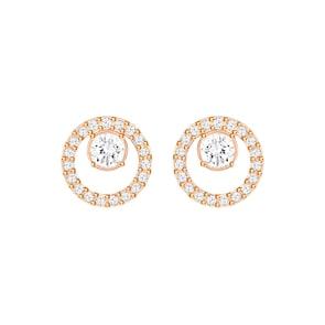 Swarovski Boucles d'oreilles Creativity Circle, blanc, métal doré rose