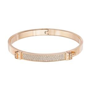 Swarovski Bracelet-jonc Distinct, blanc, métal doré rose