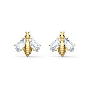 Swarovski Boucles d'oreilles Eternal Flower Bee, blanc, métal doré