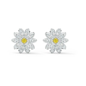 Swarovski Boucles d'oreilles Eternal Flower, jaune, métal rhodié