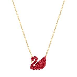 Swarovski Collier Iconic Swan, rouge, métal doré