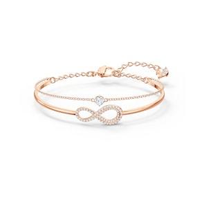 Swarovski Bracelet-jonc Infinity, blanc, métal doré rose
