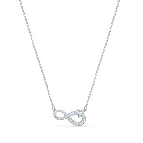 Swarovski Collier Infinity, blanc, métal rhodié