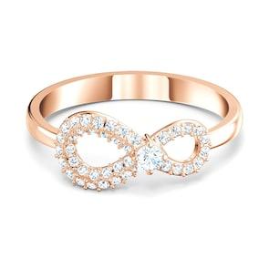 Swarovski Bague Infinity, blanc, métal doré rose