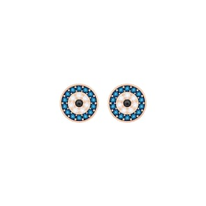 Swarovski Boucles d'oreilles Luckily, bleu, métal doré rose