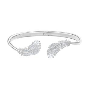 Swarovski Bracelet-jonc Nice, blanc, métal rhodié