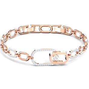 Swarovski The Elements Chain Bracelet, blanc, métal doré rosé