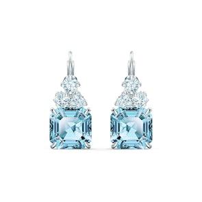Swarovski Boucles d'oreilles Sparkling, turquoise, métal rhodié