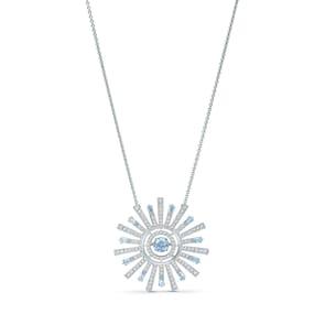 Swarovski Collier Sunshine, bleu, métal rhodié