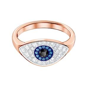 Swarovski Bague Symbolic Evil Eye, bleu, métal doré rose