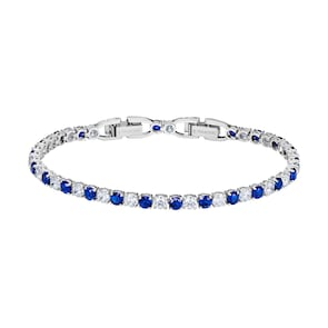 Swarovski Bracelet Tennis Deluxe, bleu, métal rhodié