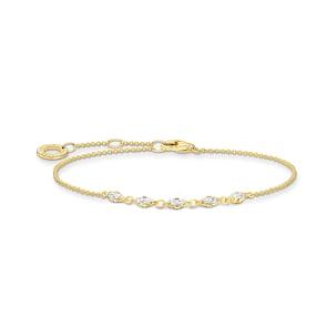 Thomas Sabo Charm Club Bracelet vintage blanche pierres or