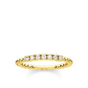Thomas Sabo Charm Club Bague perles vec pierres blanches or
