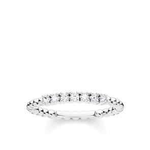 Thomas Sabo Charm Club Bague perles vec pierres blanches argent