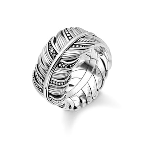 Thomas Sabo Sterling Silver Rebel at Heart Bague Plume Pavé