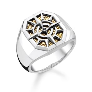 Thomas Sabo Sterling Silver Rebel at Heart Bague Boussole Or