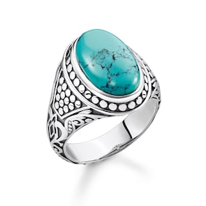 Thomas Sabo Sterling Silver Rebel at Heart Bague Turquoise