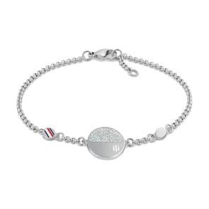Tommy Hilfiger Bracelet Disque à Monogramme Argenté