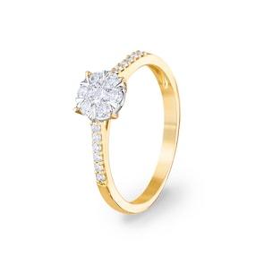 Bague de fiançailles 750/18 K or jaune avec diamants 0.33 ct H/si by CHRISTIAN