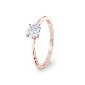 Bague de fiançailles 750/18 K or rosé avec diamants 0.15 ct H/si by CHRISTIAN