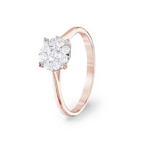 Bague de fiançailles 750/18 K or rosé avec diamants 0.40 ct H/si by CHRISTIAN