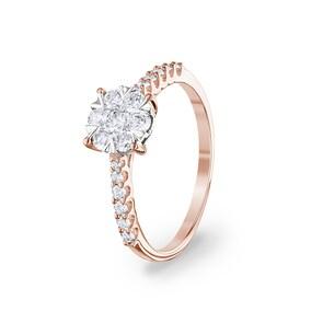 Bague de fiançailles 750/18 K or rosé avec diamants 0.50 ct H/si by CHRISTIAN