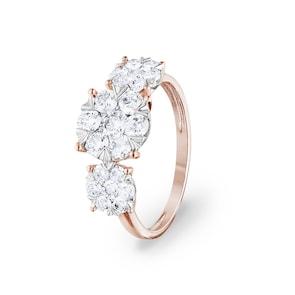 Bague de fiançailles 750/18 K or rosé avec diamants 1.00 ct H/si by CHRISTIAN
