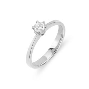 Bague de fiançailles 750/18 K or gris avec diamant 0.21 ct H/vs