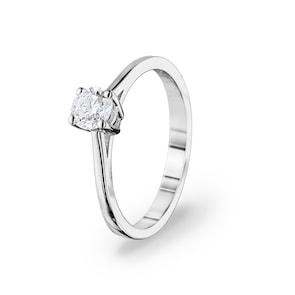 Bague de fiançailles 750/18 K or gris avec diamant 0.40 ct H/si