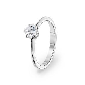 Bague de fiançailles 750/18 K or gris avec diamant 0.51 ct H/si