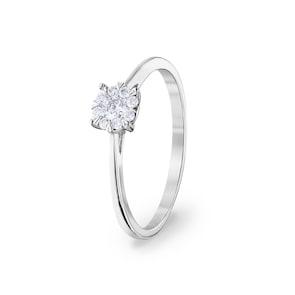 Bague de fiançailles 750/18 K or gris avec diamants 0.15 ct H/si by CHRISTIAN
