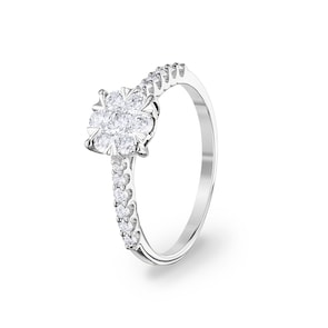 Bague de fiançailles 750/18 K or gris avec diamants 0.50 ct H/si by CHRISTIAN