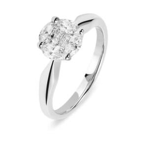Bague de fiançailles 750/18 K or gris avec diamants 0.71 ct H/Si